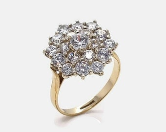Vintage Gold Cluster Ring, Cubic Zirconia Cluster, Womens Gold Rings, Gold Rings Women, Mothers Day, Cubic Zirconia Rings, Gold Cluster Ring