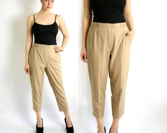 Vintage 80's 90's Beige Wool Blend High Waisted Pleat Pants. Tapered Leg Trousers Ankle Crop