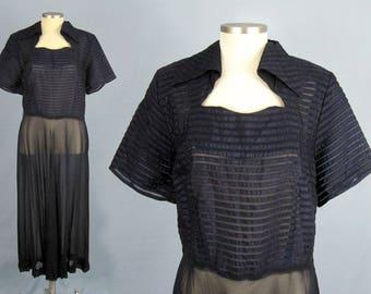 1940s Dress / 1940s Blue Rayon Dress / Vintage 40s Dress