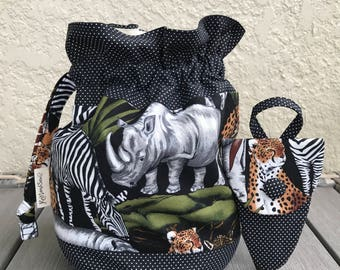 Drawstring Project bag, Knitting drawstring bag, Project drawstring bag, animal drawstring project bag, included with handy scissors case