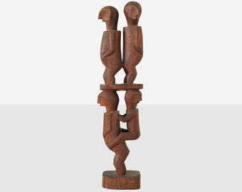 modernist wood sculpture, midcentury wood sculpture, modern sculpture, folk art wood carving, totem , wood carving, folk art carving,