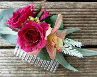 Haircomb Floral Hot Pink Rose and Orchid Hair Clip. Silk roses, eucalyptus, silver suede, cymbidium orchid