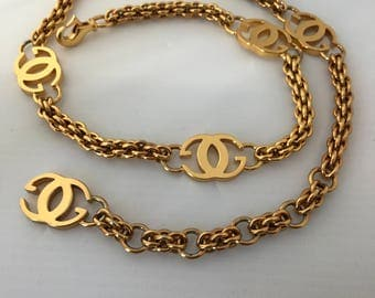 Iconic Vintage GUCCI Chain NECKLACE BELT 18K Heavy Gold Plated Unworn Perfect Signed Authentic Gucci Hallmark   WildRosesVintage Free Ship
