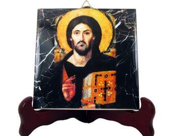 Christian gifts - Christian icon of Jesus Christ Pantocrator - religious icon on ceramic tile - christian gift - religious gifts jesus icon