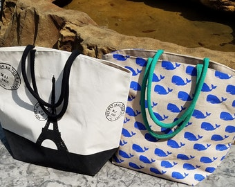 Monogrammed JUMBO SIZED Tote Bag/ Beach Bag / Diaper/ Extra Large Bag!