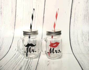 mr and mrs mason jar mason jar with handles bride and groom - Mason Jar Glasses