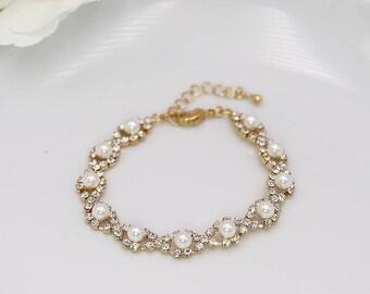Bridal bracelet Gold, pearl wedding bracelet, rhinestone pearl bracelet, crystal white pearl bracelet, bridal jewelry, wedding 535339019