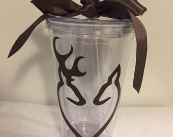 Monogramed/Personalized Double Wall 16oz Tumbler - Browning Deer