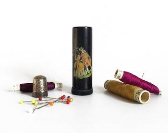 Bakelite needle holder, pins and needles tube, collectible needle case