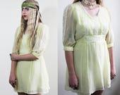 Seventies Baby Doll Lemon Yellow Mini Dress
