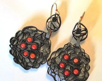 Paper filigree earrings, lightweight, unique.