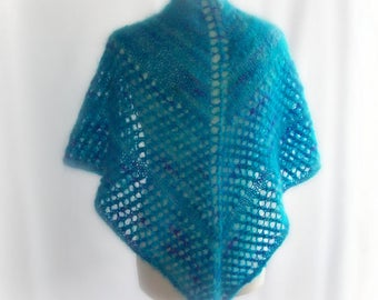 Knitted Shawl, Mohair Shawl, Wedding shawl, Lace Shawl, Winter Shawl, Blue Shawl, Gift for Her, Gift for Mum, Valentines Gift, Gift Boxed