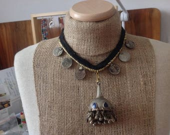 Turkmen Afghan kuchi necklace. Coins and vintage substanzial kuchi dome pendant. Belly dance.Folk Bedouin Nomads Hippy Gypsy necklace.HW68.