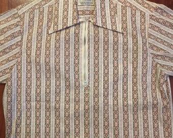 1960s Men's Collar Shirt Striped Zip-Neck Short Sleeve Jonathan Hill Design