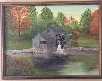 Country oil Painting of a Watermill