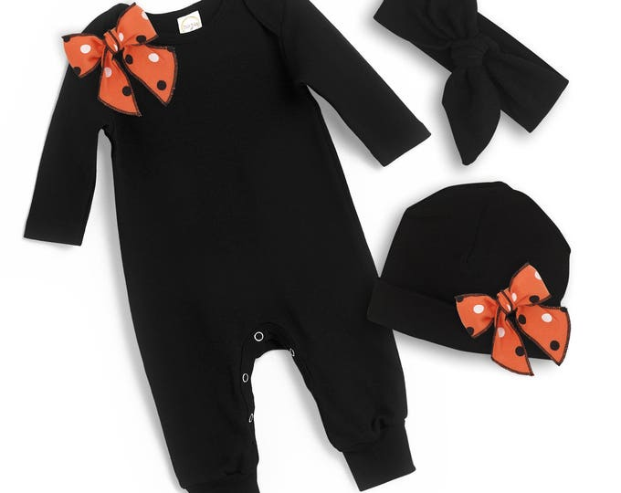 Newborn Halloween Romper Black Orange, Baby Girl Halloween Bodysuit, Baby Girl Halloween Bows Bodysuit, Black Orange Tesababe