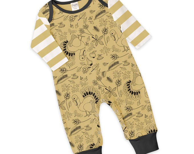 CLEARANCE! Newborn Thanksgiving Romper Black and Yellow, Baby Boy and Girl Thanksgiving Bodysuit, Turkey, Yellow Stripes, Tesababe