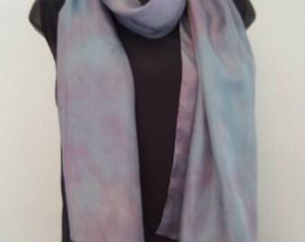 Sky blue, lilac purple pure silk long scarf,  blue purple neckscarf, multi coloured  silk, long pure silk scarf