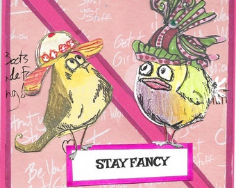 holtz birds with hats stay fancy  handmade greeting card