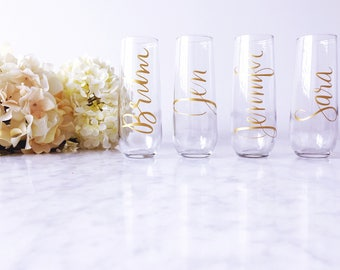 Personalized Champagne Flutes - Bridesmaid Gift - Champagne Flutes - Bridesmaid Champagne Glasses - Bridesmaid Gift -Bachelorette Party Gift