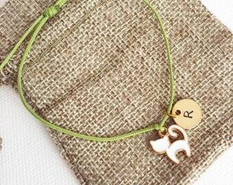 White cat charm - initial bracelet, personalised bracelet, personalised gift, birthday gift, friendship bracelet, gift ideas, cat lover gift
