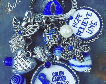 Colon Cancer Awareness Handmade KeyChain Awareness Jewelry Colon Cancer Support Ribbon Blue Ribbon for Cancer Awareness Gift