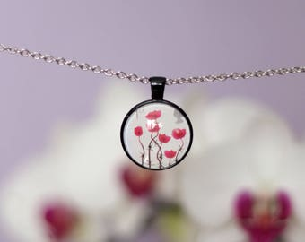 Postage Stamp 2006 British Lest We Forget Poppies Remembrance Day Floral Round Pendant Jewellery