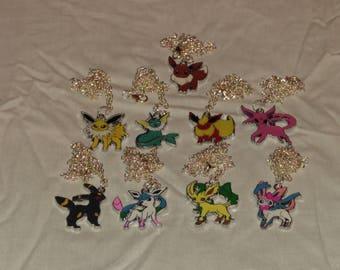 Free Shipping Pokemon Necklace, Eevee Necklace, Flareon Necklace, Umbreon, Glaceon, Sylveon, Espeon, Vaporeon, Jolteon, Leafeon Necklace