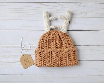 Crochet Deer Baby Hat, Antler Hat Baby, Newborn Deer Hat, Slouchy Baby Hat, Knit Deer Hat, Deer Hat, Baby Boy Hat, Baby Gift, Deer Clothes