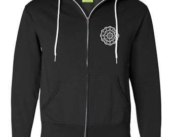 Doodle™ Fan Mandala & Fantruvian Man - 100% Cotton Zip Up - Silkscreened Print - Doodle™ Line