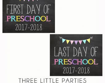 First Day of Preschool Sign AND Last Day of Preschool School Sign - 8x10 - INSTANT DOWNLOAD - Back to School Printable Sign - Pink Purple