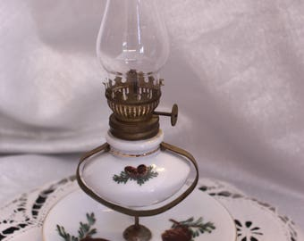 Vintage Pine Cone Style Tilting Hurricane  Lamp