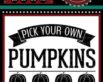 Pick Your Own Pumpkins | Cutting File Printable | Vintage | Farmhouse Sign | Fall | Autumn | Fruit | Farm | Garden | Vegetables