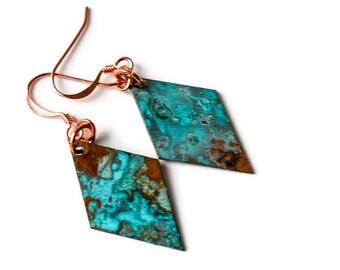 Patina copper earrings, geometric earrings, ocean earrings, blue patina, rustic earrings, diamond earrings, modern earrings, boho style