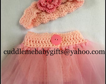 Baby Girl Ballerina  Baby Shower Baby Shower decor Baby Shower Gift Baby Girl Tulle Diaper Cover and Headband