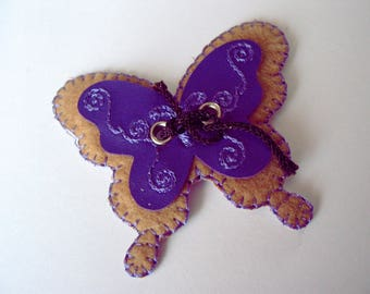 Application thermocollante suede and faux leather embroidered Butterfly