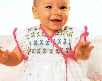 Baby Knitting Pattern pdf Crossover Front Dress  16-19  chest 4 ply
