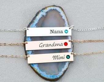 Mom Birthstone Necklace • Sterling Silver Grandma Birthstone Bar Necklace Name Engraved•Necklace Mother Gift Nana Necklace BB_17