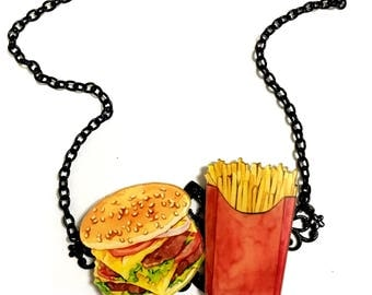 Hamburger and Chips Lovers Necklace, Junk Food, Pop Art style, Retro Vintage Commercials Art Print, Black Gothic Collar Statement necklace