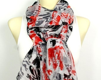Red Printed Scarf Viscose Fabric Scarf Newspaper Scarf Women Scarf Fall Fashion Accessories Gift for Women Christmas Gift