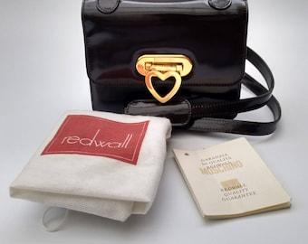 Sale! MOSCHINO by Redwall Dark Brown Leather Shoulder Bag. Italian Designer Handbag.