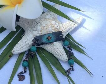 Deep green on Black with murrini glass pendant accent design Enameled bracelet