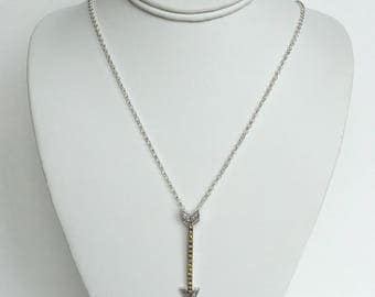 Sterling Silver Clear & Yellow CZ Arrow Pendant