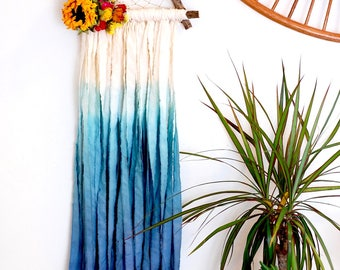 White and Teal Triangle Dream Catcher with Dried Flowers