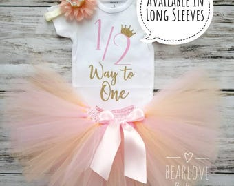 Half Birthday Outfit | Half Way to One | Pink and Gold 1/2 Birthday Outfit | 6 Months Birthday | Cake Smash Outfit | Photo Prop | Baby Girl
