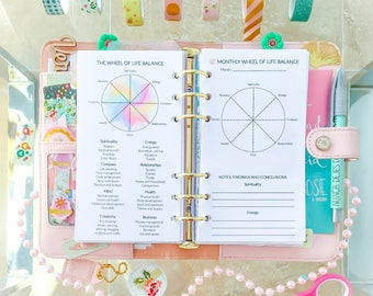 Wheel of Life Balance Personal Filofax Inserts Printable Coaching Tool Life Management Self Construction Planner Pages Instant Download PDF