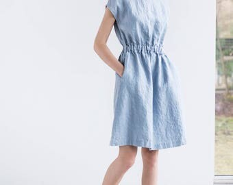 Basic linen dress with elastic waistband in bluish grey / Washed linen dress