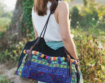 Purple Diamond Tote Bag with Hmong Embroidered, Pom Pom bag Beach Bag for Women, Bohemian Bag, Boho Shoulder Bag - BG518DIAPUR