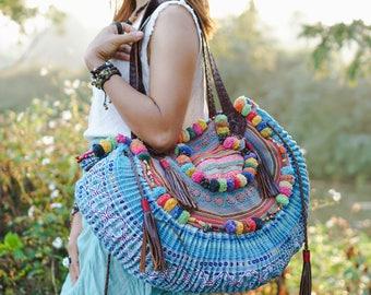 Unique Women's Half Moon Shoulder Bag with Leather Strap, Beach Bag with Pom Pom, One of a Kind Hmong Bag, Bohemian Bag - BG0002-0000