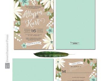 Printed Wedding Invitation Suite Natural Spring Floral Wedding Invite Kraft invitation Suite Rustic Wedding Invitation Flowers Wedding Suite